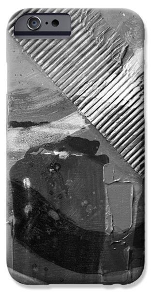 Fine Art Abstract iPhone Cases - Abstract  19614 cropped VI   greyscale iPhone Case by John  Nolan