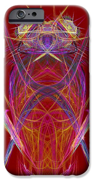 Consciousness iPhone Cases - Abstract Alien Face On Red Background iPhone Case by Keith Webber Jr
