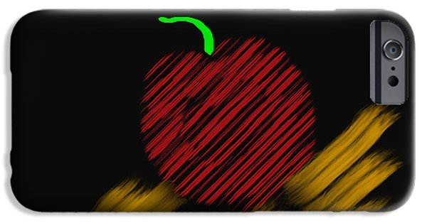 Computer Design iPhone Cases - Abstract Apple Border iPhone Case by Barbara Snyder