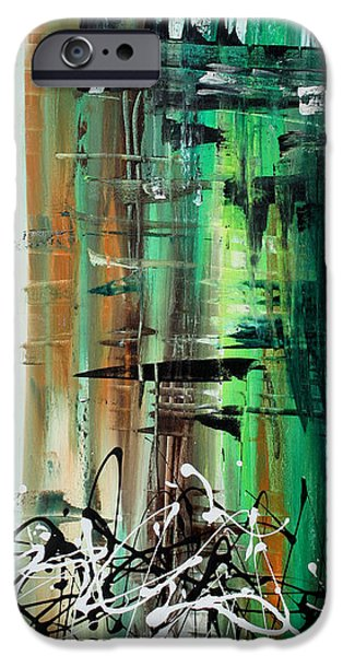 Abstract Art Colorful Original Painting GREEN VALLEY by MADART iPhone Case by Megan Duncanson