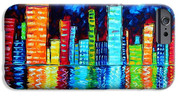 Texture Paintings iPhone Cases - Abstract Art Landscape City Cityscape Textured Painting CITY NIGHTS II by MADART iPhone Case by Megan Duncanson