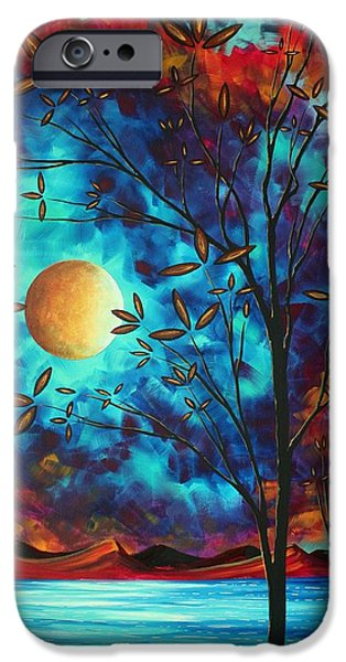 Whimsy Paintings iPhone Cases - Abstract Art Landscape Tree Blossoms Sea Moon Painting VISIONARY DELIGHT by MADART iPhone Case by Megan Duncanson