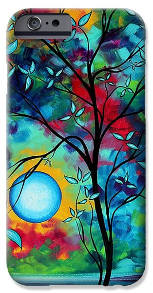 Whimsy Paintings iPhone Cases - Abstract Art Landscape Tree Blossoms Sea Painting UNDER THE LIGHT OF THE MOON I  by MADART iPhone Case by Megan Duncanson