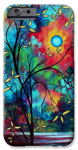 Rust iPhone Cases - Abstract Art Landscape Tree Blossoms Sea Painting UNDER THE LIGHT OF THE MOON II by MADART iPhone Case by Megan Duncanson