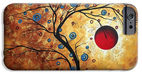 Whimsy Paintings iPhone Cases - Abstract Art Landscape Tree Metallic Gold Texture Painting FREE AS THE WIND by MADART iPhone Case by Megan Duncanson