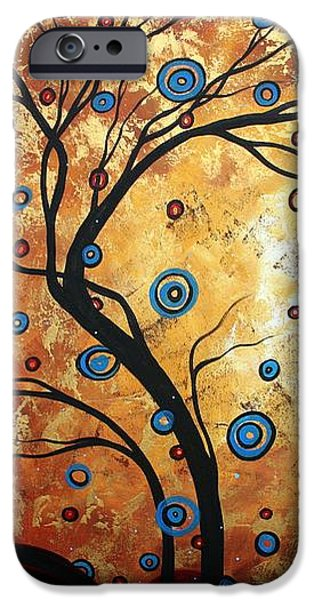 Abstract Art Landscape Tree Metallic Gold Texture Painting FREE AS THE WIND by MADART iPhone Case by Megan Duncanson