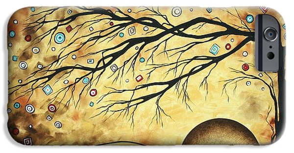 Abstract Style iPhone Cases - Abstract Art Metallic Gold Original Landscape Painting Colorful DIAMOND JUBILEE by MADART iPhone Case by Megan Duncanson