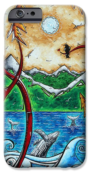 Abstract Art Original Alaskan Wilderness Landscape Painting LAND OF THE FREE by MADART iPhone Case by Megan Duncanson