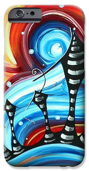 Abstract Art Original Colorful Funky House Painting HOME ON THE HILL by MADART iPhone Case by Megan Duncanson