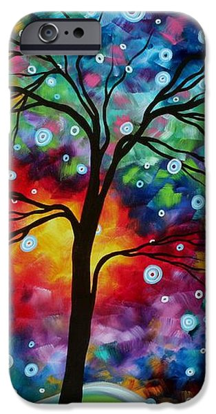 Abstract Art Original Colorful Landscape Painting A MOMENT IN TIME by MADART iPhone Case by Megan Duncanson