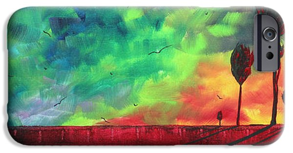 Modern Abstract iPhone Cases - Abstract Art Original Colorful Landscape Painting BURNING SKIES by MADART  iPhone Case by Megan Duncanson