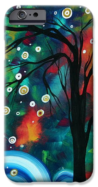 Abstract Art Original Landscape Painting Bold Circle of Life Design DANCE THE NIGHT AWAY by MADART iPhone Case by Megan Duncanson