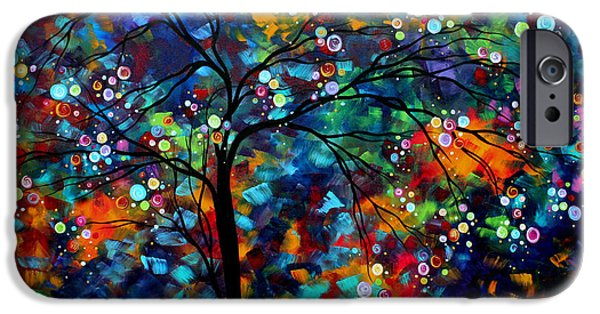 Painted Paintings iPhone Cases - Abstract Art Original Landscape Painting Bold Colorful Design SHIMMER IN THE SKY by MADART iPhone Case by Megan Duncanson