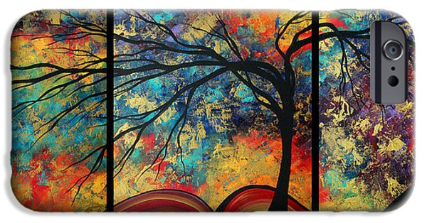 Plum iPhone Cases - Abstract Art Original Landscape Painting GO FORTH by MADART iPhone Case by Megan Duncanson