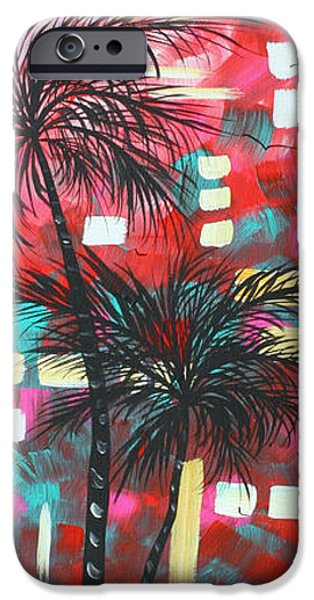 Tangerine Paintings iPhone Cases - Abstract Art Original Tropical Landscape Painting FUN IN THE TROPICS by MADART iPhone Case by Megan Duncanson