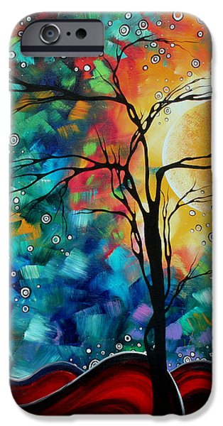 Abstract Art Original Whimsical Modern Landscape Painting BURSTING FORTH by MADART iPhone Case by Megan Duncanson