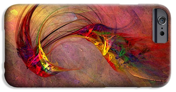 Contemplative iPhone Cases - Abstract Art Print Hummingbird iPhone Case by Karin Kuhlmann
