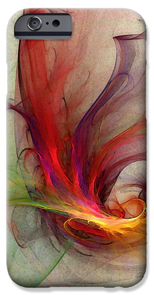 Fractal iPhone Cases - Abstract Art Print Sign iPhone Case by Karin Kuhlmann