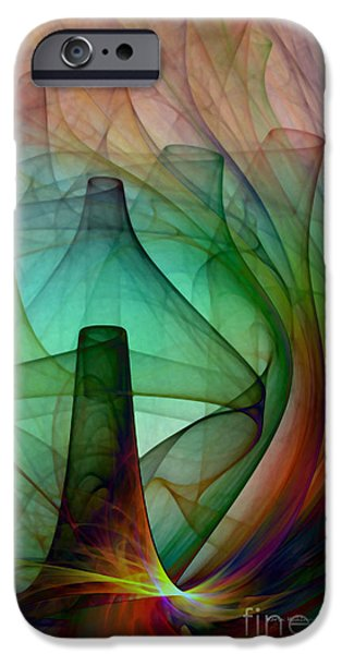 Green Witch iPhone Cases - Abstract Art Print Witches Kitchen iPhone Case by Karin Kuhlmann
