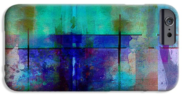 Abstract Digital Art iPhone Cases - abstract - art- Rhapsody in Blue iPhone Case by Ann Powell