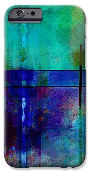 abstract - art- Rhapsody in Blue iPhone Case by Ann Powell