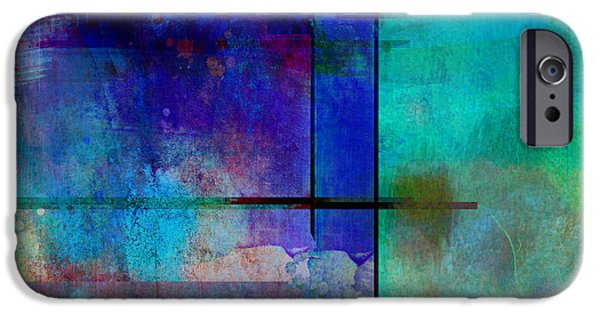 Abstract Expressionist iPhone Cases - abstract-art-Rhapsody in Blue Square  iPhone Case by Ann Powell