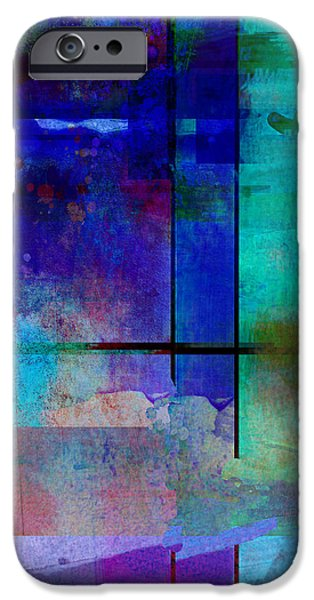 abstract-art-Rhapsody in Blue Square  iPhone Case by Ann Powell
