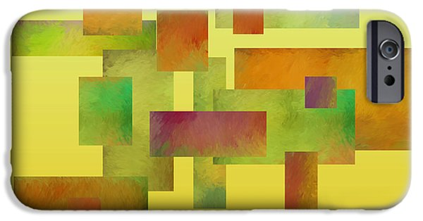 Modern Abstract Digital Art Digital Art Digital Art iPhone Cases - abstract-art- Squares Collage Three iPhone Case by Ann Powell