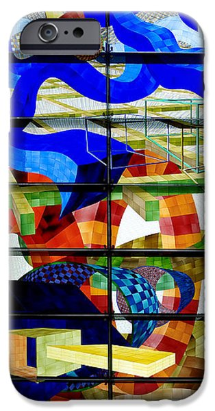 Stained Glass Glass Art iPhone Cases - Abstract Art Stained Glass iPhone Case by Mountain Dreams