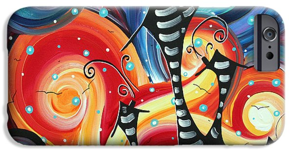 Tangerine Paintings iPhone Cases - Abstract Art Whimsical Cityscape Funky Houses HOMELAND by MADART iPhone Case by Megan Duncanson