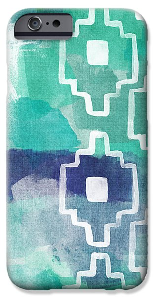 Abstracted Mixed Media iPhone Cases - Abstract Aztec- contemporary abstract painting iPhone Case by Linda Woods