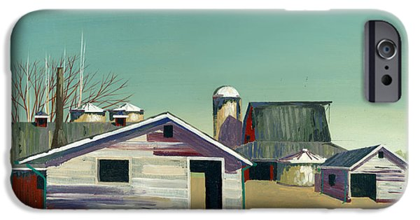 Barns Paintings iPhone Cases - Abstract Barn iPhone Case by John Wyckoff