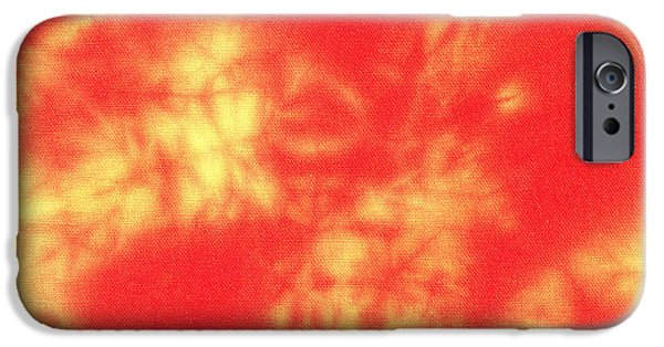 Abstracts Tapestries - Textiles iPhone Cases - Abstract Batik in yellow and red shades iPhone Case by Kerstin Ivarsson
