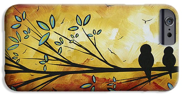 Rust iPhone Cases - Abstract Bird Landscape Tree Blossoms Original Painting Family of Three iPhone Case by Megan Duncanson