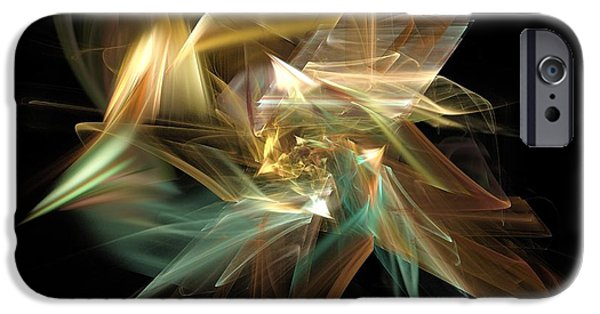 Abstract Digital Light Trails iPhone Cases - Abstract Bloom  iPhone Case by Elizabeth McTaggart