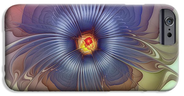 Lyrical iPhone Cases - Abstract Blue Flower in Sunday Dress iPhone Case by Karin Kuhlmann