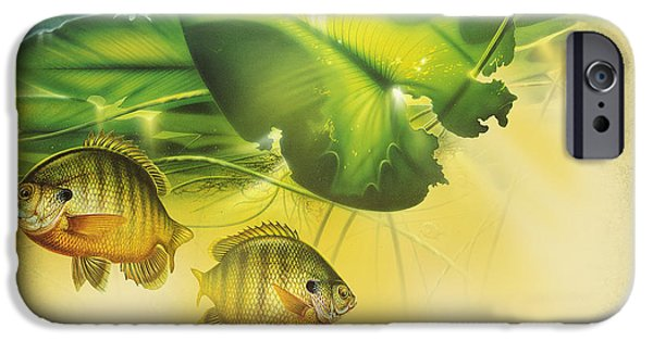 Underwater iPhone Cases - Abstract Blugill iPhone Case by JQ Licensing