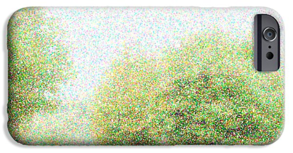 Nature Abstracts iPhone Cases - Abstract blur trees pointillism exposure filter effect nature background template iPhone Case by Hannelore Baron