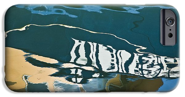 Dave Digital Art iPhone Cases - Abstract Boat Reflection iPhone Case by David Gordon