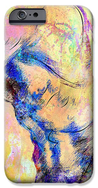 Figure Mixed Media iPhone Cases - Abstract Bod 6 iPhone Case by Mark Ashkenazi