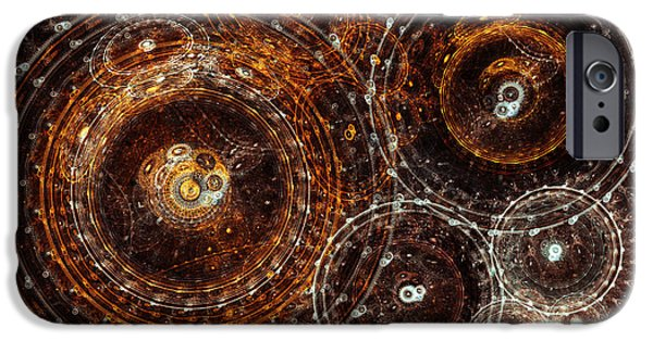 Mechanism iPhone Cases - Abstract bronze circle fractal  iPhone Case by Martin Capek
