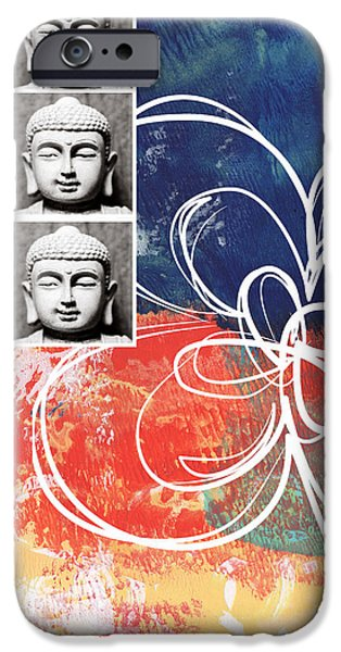 Lobby iPhone Cases - Abstract Buddha iPhone Case by Linda Woods