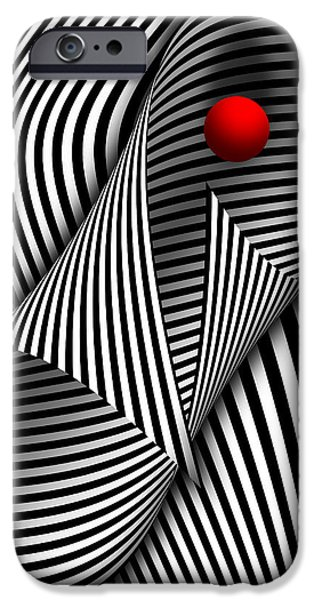 Suburban Digital iPhone Cases - Abstract - Catch the red ball iPhone Case by Mike Savad