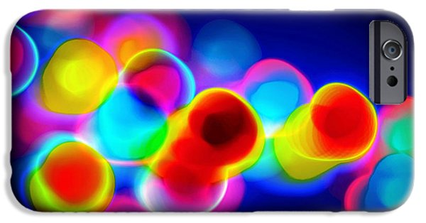 Abstract Digital Photographs iPhone Cases - Abstract Christmas Light Rainbow iPhone Case by Elizabeth Abbott