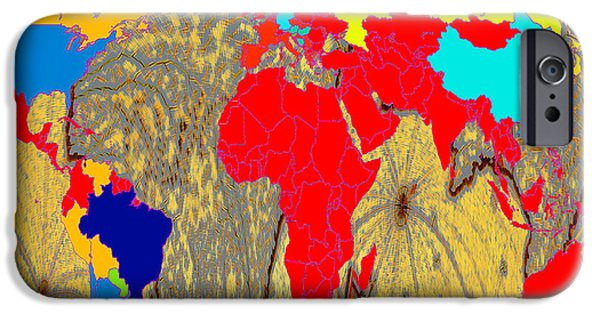 Earth Map Digital Art iPhone Cases - Abstract Cyprus and World Map  iPhone Case by Augusta Stylianou