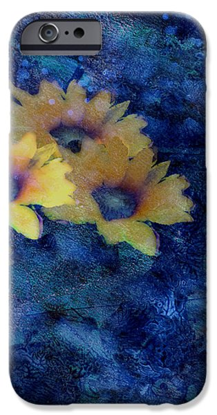 Abstract Daisies on Blue iPhone Case by Ann Powell