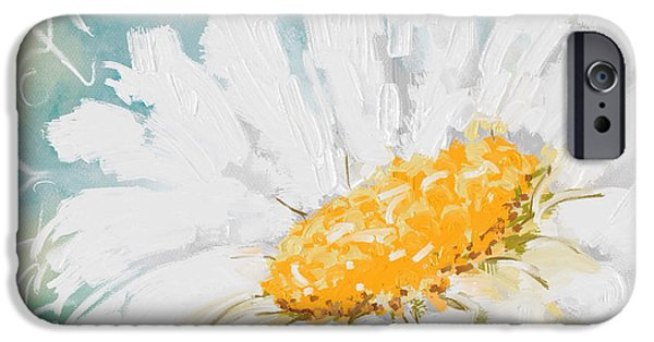 Abstract Digital Paintings iPhone Cases - Abstract daisy iPhone Case by Veronica Minozzi