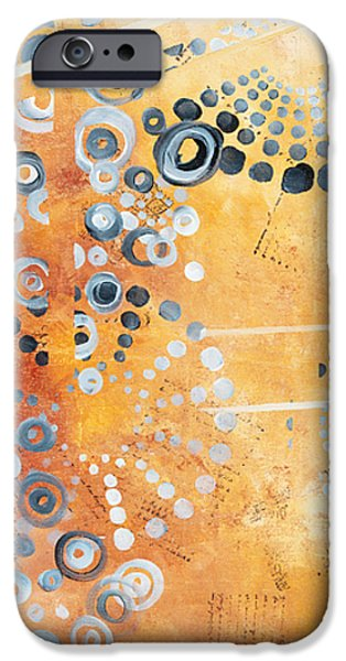 Contemporary Abstract iPhone Cases - Abstract Decorative Art Original Circles Trendy Painting by MADART Studios iPhone Case by Megan Duncanson