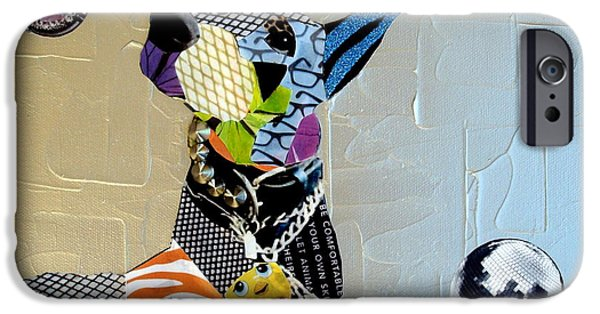 Dog With Ball Print iPhone Cases - Abstract Doberman  iPhone Case by Holly Anderson