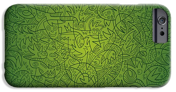 Ramspott iPhone Cases - Abstract Doodle Faces Green iPhone Case by Frank Ramspott